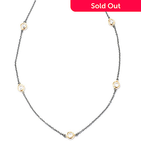 116-286 - Belargo™ for Brilliante® 18'' Platinum & Gold Embraced Bezel Set Station Necklace