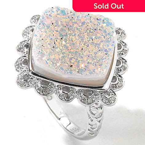 116-335 - Gem Insider™ Sterling Silver 15mm Square Snow Opal Drusy & Diamond Ring