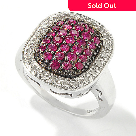 116-377 - Gem Treasures® Sterling Silver 1ctw Precious Gemstone & Diamond Pave Ring