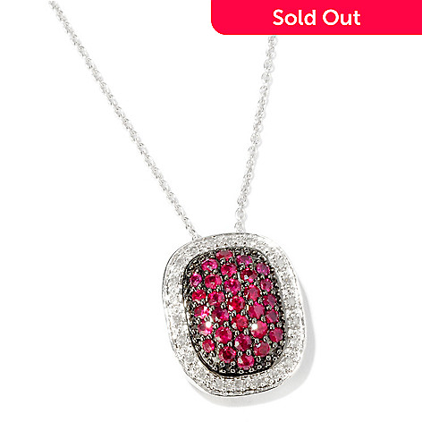 116-378 - Gem Treasures®  Sterling Silver 1ctw Precious  Gemstone & Diamond  Pave Pendant
