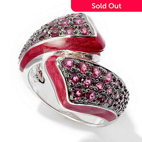 116-447 - Sterling Silver Red Enamel & 1.20ctw Rhodolite Ring