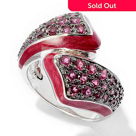 116-447 - Sterling Silver Red Enamel & 1.20ctw Rhodolite Ring
