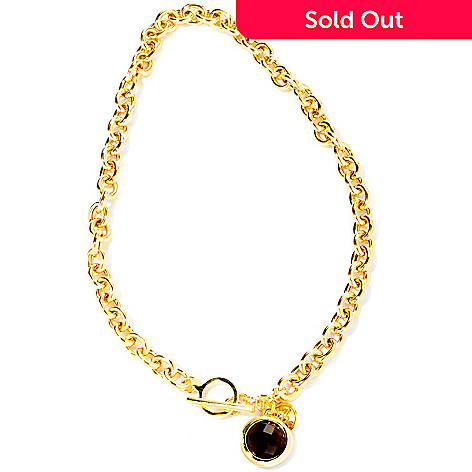 116-532 - Milano Luxe Gold Embraced™ 18'' Gemstone Charm Toggle Necklace