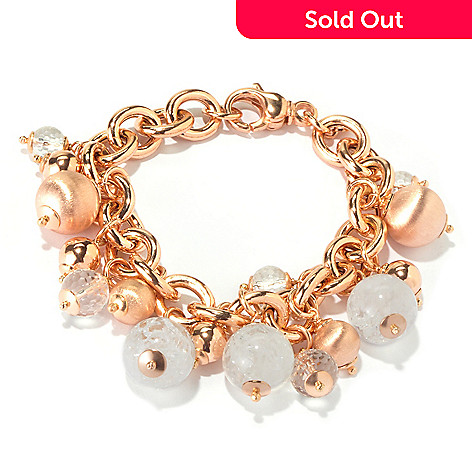 116-538 - Milano Luxe Gold Embraced™ 8'' Gemstone & Satin Bead Charm Bracelet