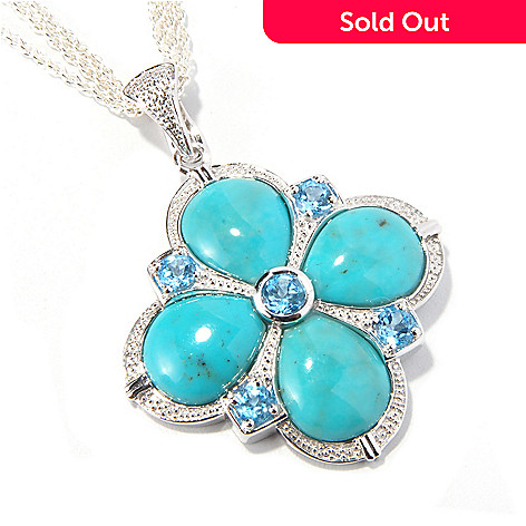 116-602 - Gem Insider® Sterling Silver Turquoise & Swiss Blue Topaz Pendant w/Chain