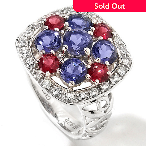 116-607 - Gem Insider Sterling Silver 2.07ctw Cushion Shape Multi Gemstone Ring