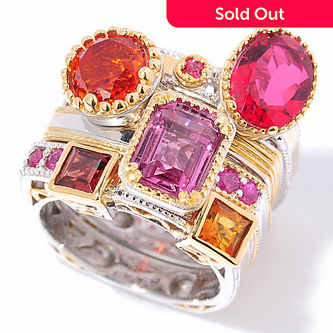 116-688 - Gems en Vogue II 7.00ctw Multi-Gemstone ''Vegas Stack'' Ring