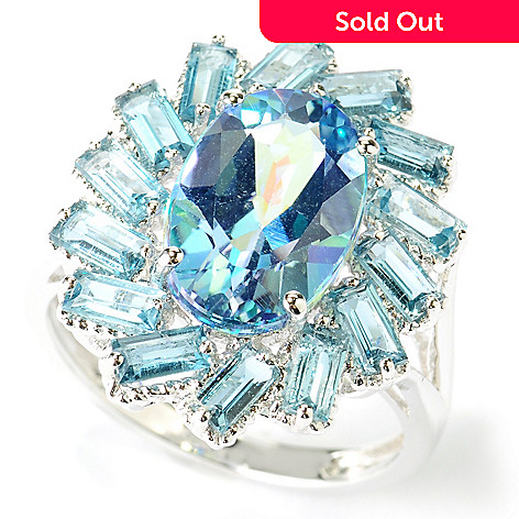 116-714 - NYC II® Exotic Topaz & Baguette Gemstone Halo Ring
