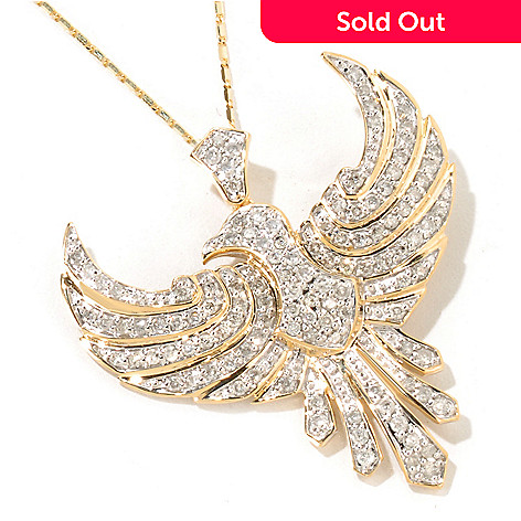 116-717 - Beverly Hills Elegance® 14K Gold 1.25ctw Diamond Bird Pendant w/ 18'' Chain
