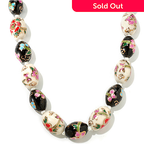 116-750 - Sterling Silver 25'' Cultured Freshwater Pearl & Cloisonne Necklace
