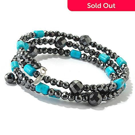 116-803 - Gem Insider™ Sterling Silver 7'' Hematite & Turquoise Coil Bracelet