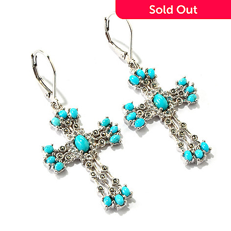 116-804 - Gem Insider Sterling Silver Turquoise & Marcasite Cross Earrings