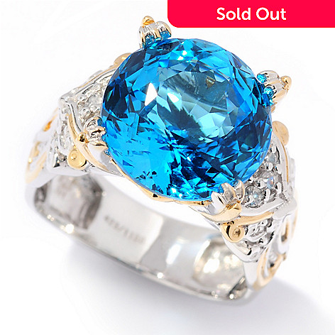 116-805 - Gems en Vogue II Limited Edition 250-Facet Ceylon Topaz & White Sapphire Ring