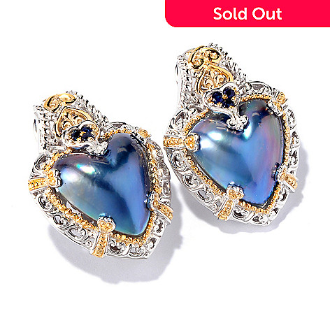 116-807 - Gems en Vogue II Heart-Shaped Mabe Cultured Pearl & Precious Gem Earrings
