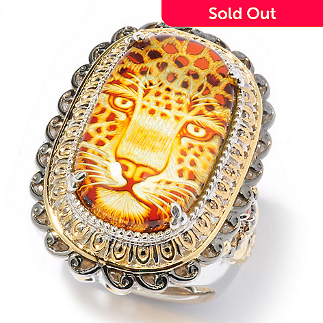 116-810 - Gems en Vogue Carved Panther Amber Intaglio & Orange Sapphire Ring