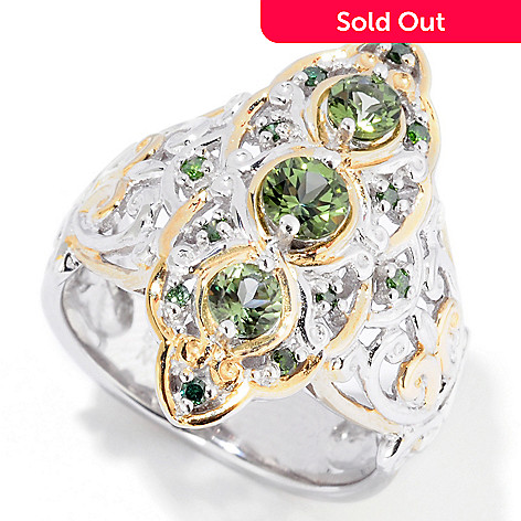 116-816 - Gems en Vogue 3-Stone Tashmarine & Green Diamond Ring
