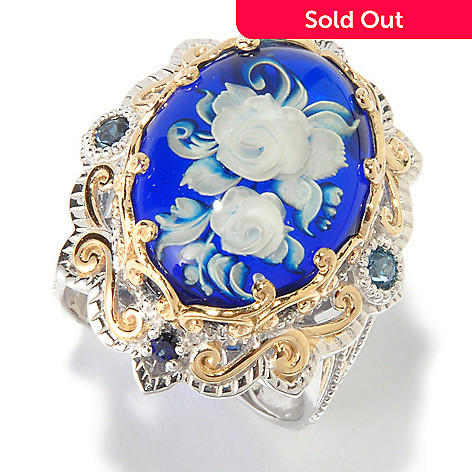 116-826 - Gems en Vogue Rose Intaglio Blue Amber, London Blue Topaz & Sapphire Ring
