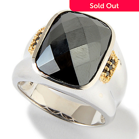 116-834 - Men's en Vogue Faceted Hematite & Black Diamond Ring