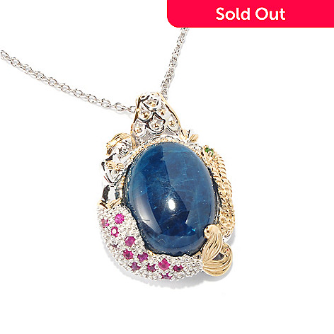 116-858 - Gems en Vogue Opaque Apatite & Multi-Gemstone Mermaid Pendant w/18'' Chain