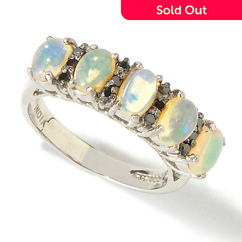 116-917 - Gem Insider™ Sterling Silver 6x4mm Five-Stone Ethiopian Opal Ring