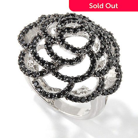 116-933 - Gem Treasures® Sterling Silver Black Spinel Rose Dome Ring