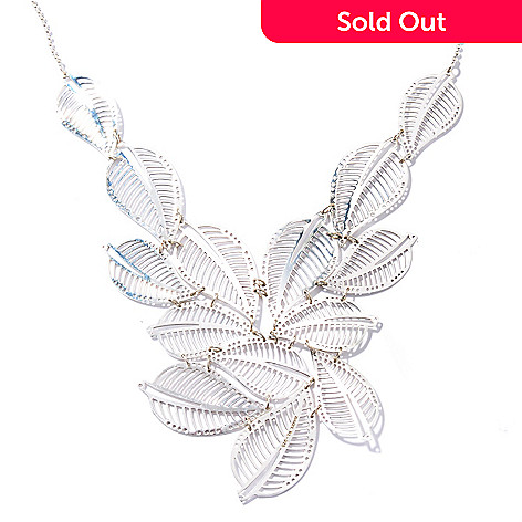 117-005 - Passage to Israel Sterling Silver 18'' Nature Inspired Leaf Design Necklace