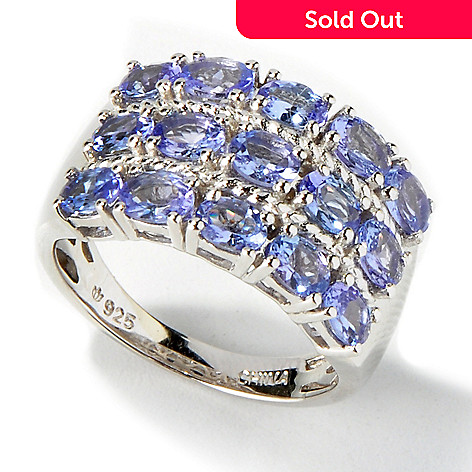 117-097 - Gem Insider Sterling Silver 2.15ctw Oval Three-Row Tanzanite Ring