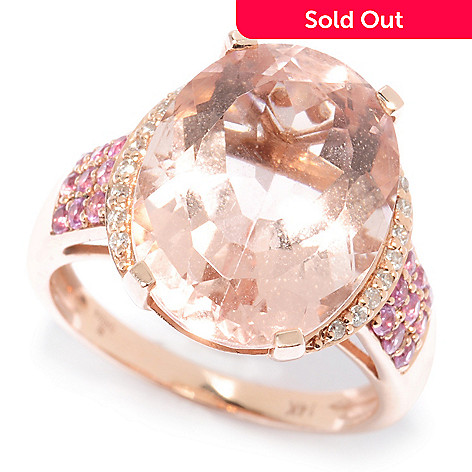 117-307 - Gem Treasures® 14K Gold 10.24ctw Morganite, Pink Sapphire & Diamond Ring