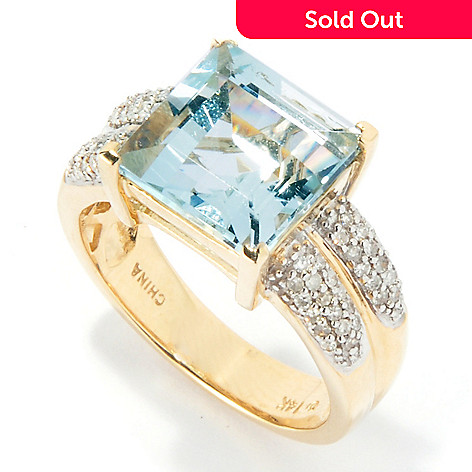 117-310 - Gem Treasures 14K 4.92ctw Princess Shape Aquamarine Ring w/Diamond Accents