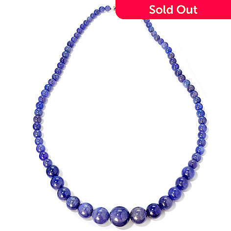 117-317 - Gem Treasures Sterling Silver 20'' Dyed Opaque Tanzanite Bead Necklace