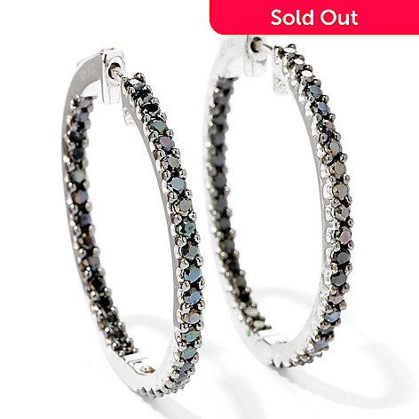 117-325 - Gem Treasures Sterling Silver Black Spinel Inside-Out Hoop Earrings
