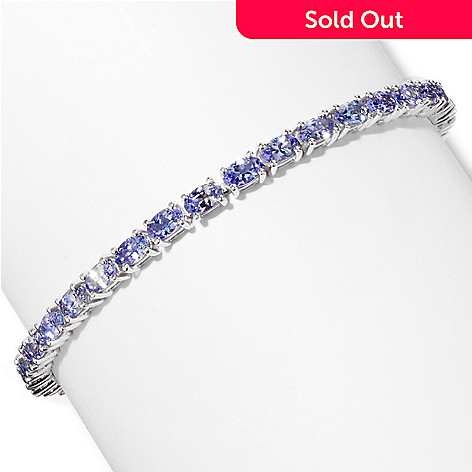 117-329 - Gem Insider™ Sterling Silver 7.5'' 7.42ctw 3x5mm Tanzanite Bracelet