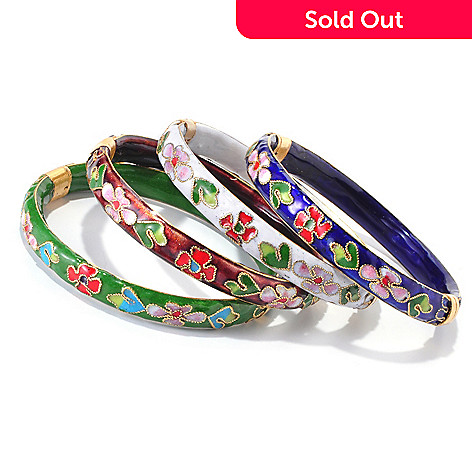 117-378 - Boxed Set of Four 7.25'' Cloisonne Filigree Hinged Floral Bangles
