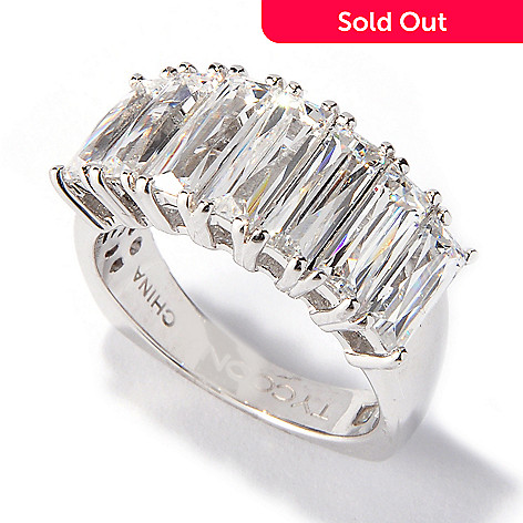 117-418 - TYCOON Platinum Embraced™ 3.58 DEW Simulated Diamond Emerald Cut Ring