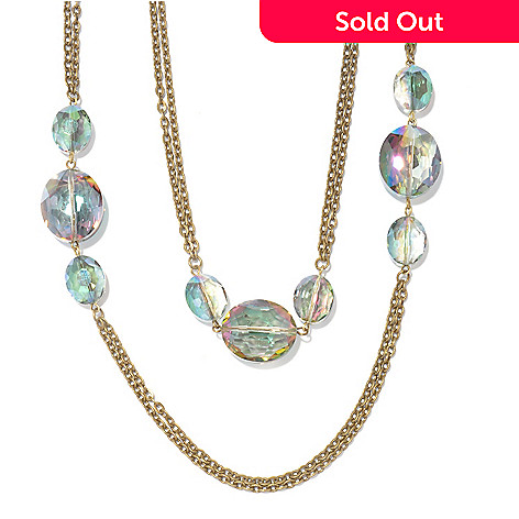117-424 - Sweet Romance 65'' Iridescent Glass Bead ''Mystic Crystal'' Station Necklace