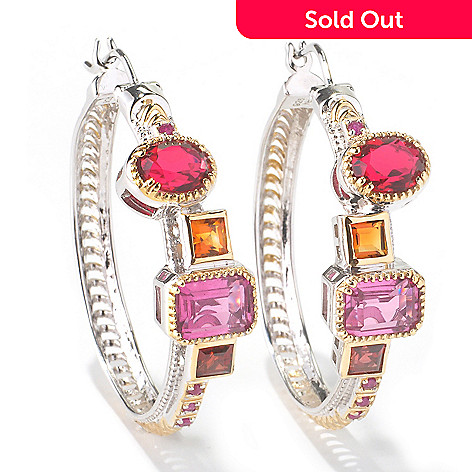 117-450 - Gems en Vogue II Multi-Gemstone ''Vegas Hoop'' Earrings