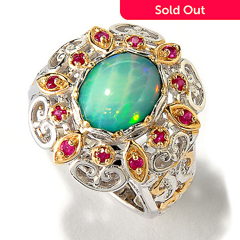 117-454 - Gems en Vogue Ethiopian Opal Doublet & Ruby Ring