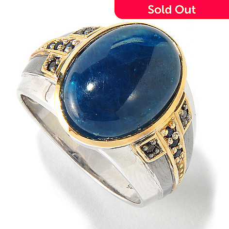 117-471 - Men's en Vogue II Opaque Apatite w/ Black Diamond & Blue Sapphire Ring