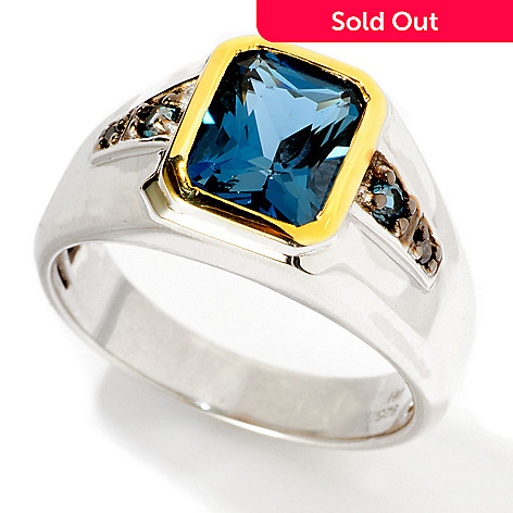 117-474 - Men's en Vogue Radiant-Cut London BlueTopaz & Black Diamond Ring