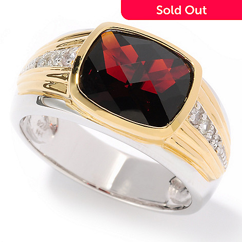 117-479 - Men's en Vogue II Checkerboard-Cut Garnet & White Sapphire Ring