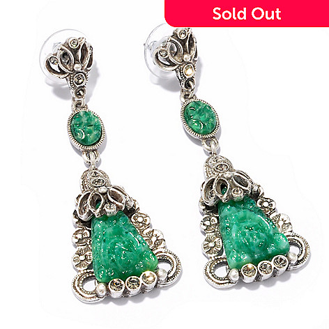 117-549 - Sweet Romance™ Vintage Glass 1930s Inspired Triangle Drop Earrings