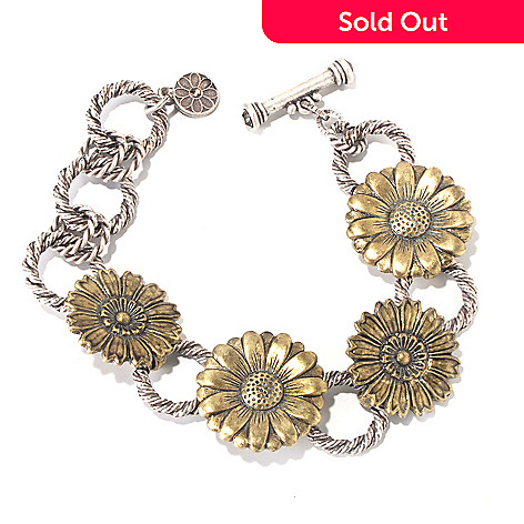 117-553 - Sweet Romance™ 7'' Two-tone 1930s Inspired RetroMex Flower Bracelet