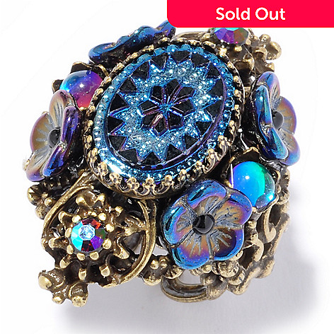 117-558 - Sweet Romance™ Vintage-Style Oval Peacock Glass Adjustable Ring