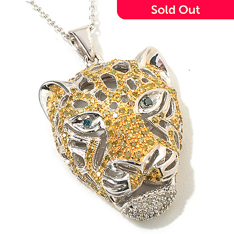 117-563 - Gem Treasures Sterling Silver 1ctw Yellow & White Diamond Panther Pendant