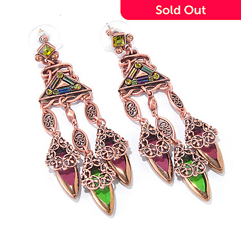 117-568 - Sweet Romance Rose-tone Geometric Crystal Autumn Earrings