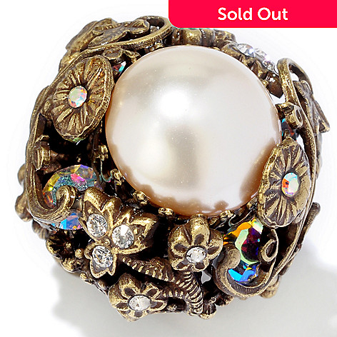 117-571 - Sweet Romance&™ 1940s Style Floral Detail Creamrose Glass Pearl Ring
