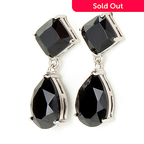 117-581 - Sterling Silver Black Spinel Drop Earrings