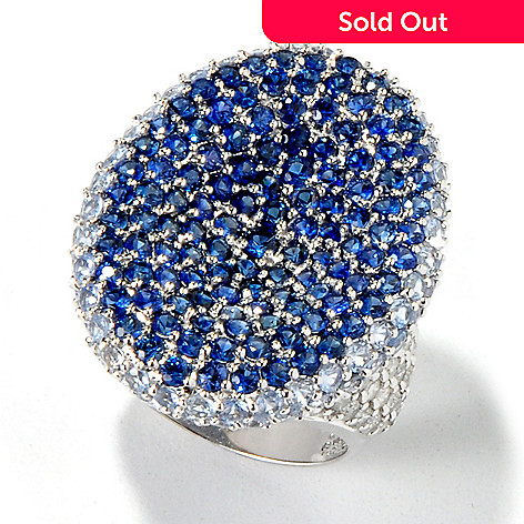 117-587 - Beverly Hills Elegance 14K White Gold 6.05ctw Diamond & Sapphire Ring