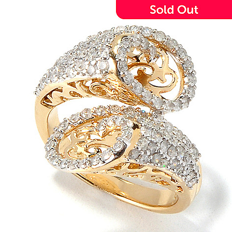 117-588 - Beverly Hills Elegance 14K Gold 1.25ctw Diamond Cut-out Bypass Ring