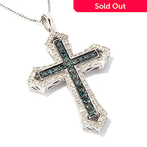 117-606 - Diamond Treasures Sterling Silver 0.75ctw Blue & White Diamond Cross Pendant w/ Chain